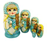 Matreshka 5 Nesting Doll  with Long Braided Hair, Blue