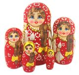 Matreshka 5 Nesting Doll  with Long Braided Hair, Red