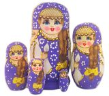 Matreshka 5 Nesting Doll  with Long Braided Hair, Purple