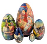 5 Nested Eggs with Nativity Scenes, Hand Painted