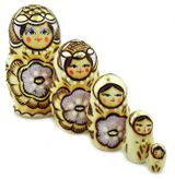 Matrioshka 5 Nested  Woodburn Doll, Floral Design