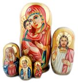 Virgin Mary of Don, 5 Nesting Icon Doll, Hand Painted