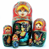"5 Nested Matreshka Wooden Dolls, ""Fairy Tales"", Hand Painted"