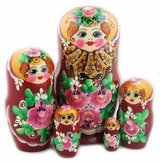 "5 Nested Matreshka Wooden Dolls, ""Floral"" Design, Hand Painted"