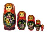 5 Nested Matrioshka Dolls, Hand Carved & Hand Panted