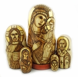 5 Nesting Religious Icon Wooden Dolls, Assorted.  Hand Carved,