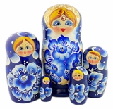 Matreshka 5 Nesting Doll, Cute Faces, Blue White Floral, 7""