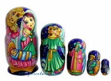 5 Nested Wood Hand Painted Nativity Dolls