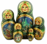5 Nesting Wood Hand Painted Stocking Dolls in Russian Style