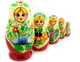 5 Nested Wood Matrioshka Doll, Russian Floral Style
