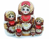 5 Nested Woodburn Russian Doll