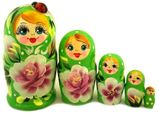 5 Nesting Wooden Matreshka Dolls with Lady Bug, Hand Painted