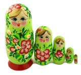 5 Nesting Wooden Matreshka Dolls, Green, Hand Painted