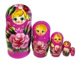 5 Nesting Wooden Matreshka Dolls with Lady Bug, Hand Painted, Purple