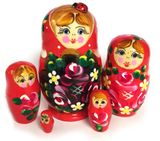 5 Nested Wooden Matreshka Dolls with Lady Bug, Hand Painted, Red