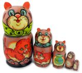 "5 Netsed Hand Carved Hand Painted Stocking  Doll ""Cat """