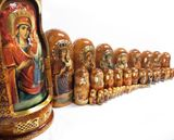 50 Nesting Dolls with Icon of Virgin Mary, Hand Painted, Extra Large