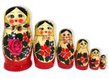 6 Nesting Wood Hand Painted Russian Dolls, Semenova Design