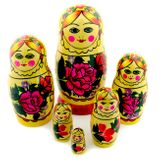 6 Nested Wood Russian Dolls, Traditional  Design