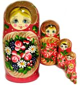 7 Nested Wood Hand Painted Russian Dolls, Semenova Design