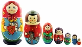 7 Nested Wood Matreshka Dolls, Large, Hand Painted