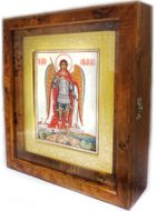 Arch. Michael, Hand Painted Icon on Mother of Pearl in Wood Kiot