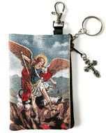 Archangel Michael, Tapestry Holder for Rosary with Key Chain