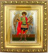 Archangel Michael  Orthodox Framed Icon with Crystals and Glass