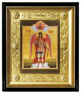 Archangel Michael Christian Orthodox Icon with Metal Riza in Wood Kiot
