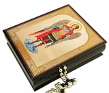 Archangel Michael, Decoupage Keepsake Wooden Box