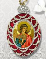 Guardian Angel, Egg Shape Framed Ornament Icon, Red