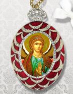 Archangel Michael Egg Shaped Ornament, Red