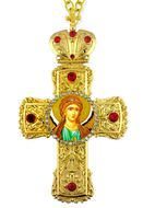 Archangel Michael,  Faberge Style Framed Cross-Shaped Icon Pendant