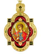 Archangel Michael, Jeweled  Icon Pendant with Chain