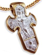 Archangel Michael, Reversible Cross, Sterling Silver, Gold Plated