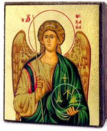 Archangel MICHAEL,  Serigraph Mini Icon, Bronze Leaf