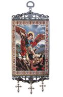 """Archangel Michael, Tapestry Icon Banner, ~10"""" H"""