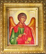 Archangel Raphael, Framed with Glass, Jeweled Orthodox Icon