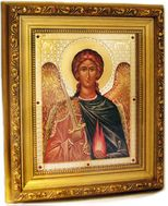Archangel Uriel,  Framed Orthodox Icon with Crystals and Glass