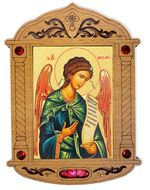 Archangel Michael Icon in Wooden Shrine with Glass and Incense