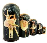 Balerina Balley, 5 Nested Wood Matrioshka Dolls, Hand Painted