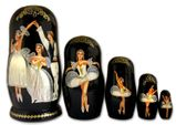Assorted Ballet Scenes, 5 Nesting Matreshka Dolls, Hand Painted, Large