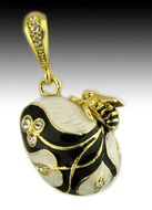 Bee Egg Pendant, Sterling Silver 925, Gold Plated, Black