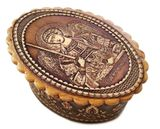 Oval Birch Box with Image of Archangel Michael