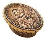 Oval Birch Box with Image of Sacred Heart of Jesus