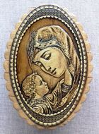 Oval Birch Box with Image of Theotokos and Child
