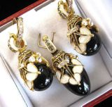 Black Onyx Set of Earrings with Egg Pendant,  Sterling Silver, Swarovsky Crystals