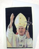 Blessed Pope John Paul II, Tapestry Icon GreetingCard with Envelope