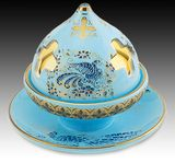 Byzantine Ceramic Votive Lamp and  Incense Burner,  Turquoise