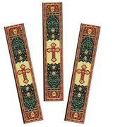 Set of 3 Tapestry Icon Book Markers with Byzantine Cross, Red